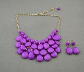 Sale 2013 purple Beadwork bib necklace,Teardrop-shaped necklace, bubble necklace,bib Bubble Necklace,drape bib necklace