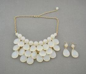 Sale 2013 white Beadwork bib necklace,Teardrop-shaped necklace, bubble necklace,bib Bubble Necklace,drape bib necklace