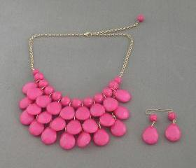 Sale 2013 pink Beadwork bib necklace,Teardrop-shaped necklace, bubble necklace,bib Bubble Necklace,drape bib necklace