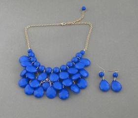 Sale 2013 Bright blue Beadwork bib necklace,Teardrop-shaped necklace, bubble necklace,bib Bubble Necklace,drape bib necklace
