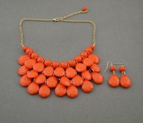 Sale 2013 orange Beadwork bib necklace,Teardrop-shaped necklace, bubble necklace,bib Bubble Necklace,drape bib necklace